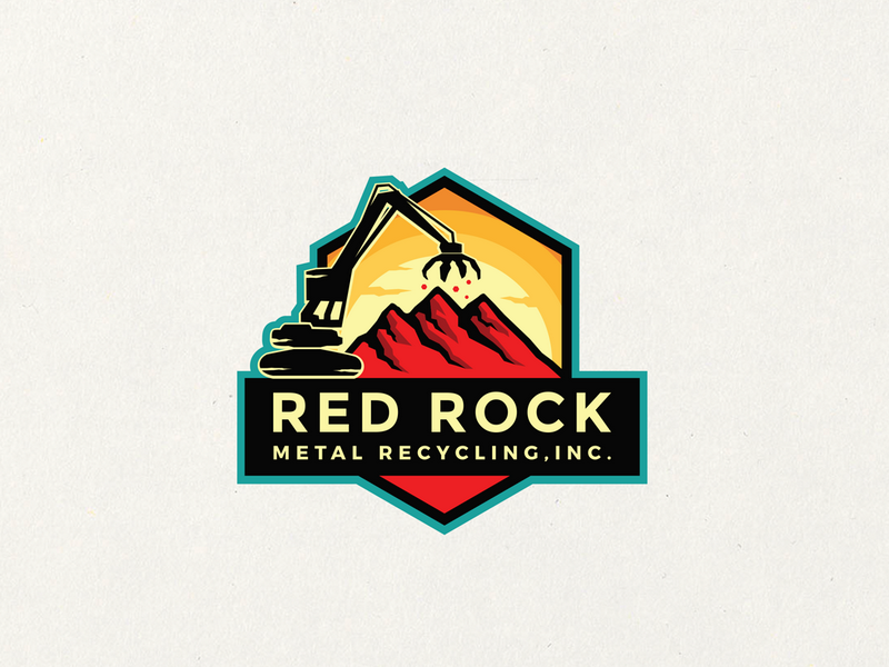 Red Rock Recycling - Logo Design subtle rock red nice modern logo inspiration identity design business brand awesome