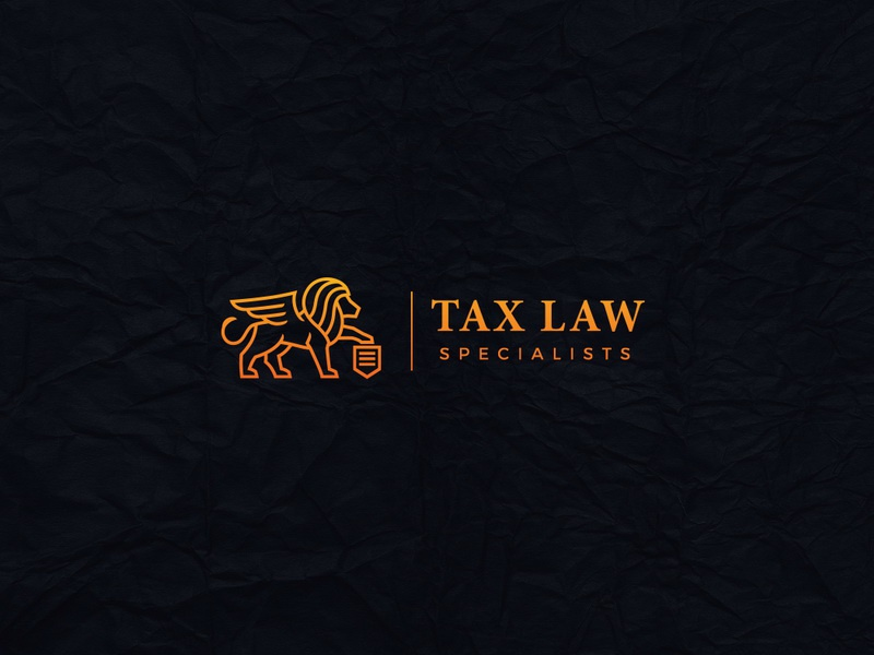 Tax Law Specialists winged lion warm trust power orange luxury logo lion law brand attorney accounting