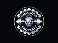 Muscle Factory - Blue Chrome - Logo Design