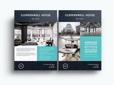 Clerkenwell House by Kitt - London - Flyer Design farringdon office space elegant brand green gray brochure design office flyer design flyer london kitt clerkenwell house