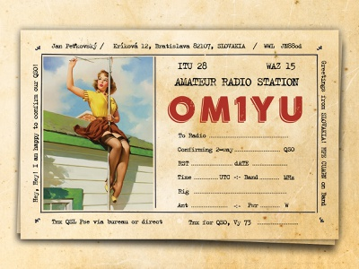Retro Postcard / QSL Card Design design banner girl pin up pin up girl qsl radio radio station radio amateur ham radio qsl card postcard post card vintage retro 1930s