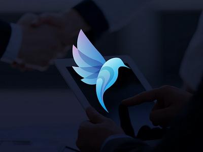 Blue Bird Logo Design blue bird application web branding brand elegant apple icon ios modern tech blue vibrant logo internet technology bird