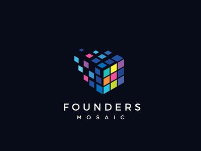 Founders Mosaic Logo Design smart clever knowledge school application internet icon job management entrepreneur logic design branding brand logo business technology tech rubiks cube cube