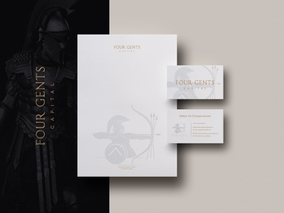 Four Gents Capital - Logo & Brand Identity Design business card business stationery design powerful brand identity logo warrior brand clever luxury modern golden arrows spartan