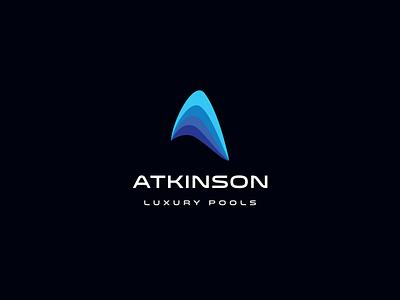 Atkinson Luxury Pools - Logo Design minimal logo abstract blue design brand branding rich blue ocean wave water deep blue modern pools pool luxury