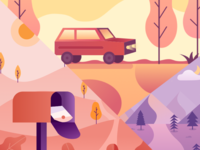 scenery illustration scenery car illustration graphic ui