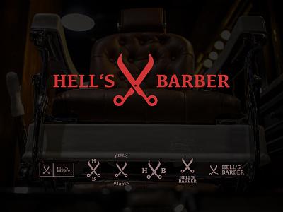 Hell's Barber Logo logomark logos design logo design graphic design barbers logo scissor barber logo barber shop barbershop barbershop logo barber