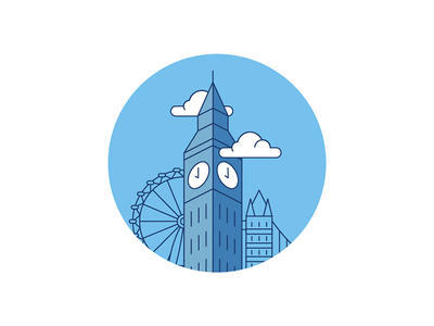 Big Ben illustration icon minimal london