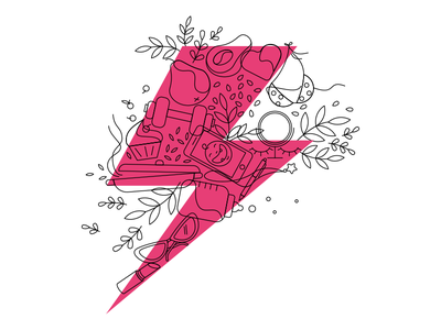 Women Power illustration lighting thunderbolt icon linear flat vector illustration