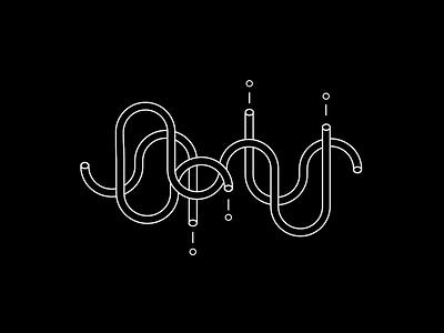 Twisted black outline mural pattern minimal