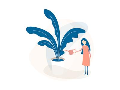 Plant minimal interior water woman plant illustration web