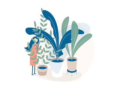 Home Jungle interior home illustrator flat vector girl illustration web pot flowers