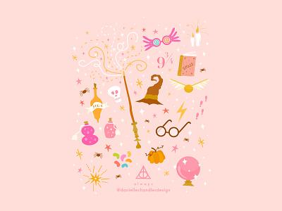 Hogwarts is back in session fantasy books graphic nerd spells wizard magical fall hogwarts magic harry potter fan fandom drawing design vector graphic design illustration visual design