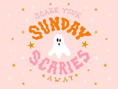 Scare Your Sunday Scaries Away sunday scaries anxiety spooky cute handlettering lettering typography type scary fall halloween ghost illustration vector design graphic design visual design
