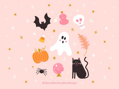Some spooky stuff cute creepy october fall vibes fall spooky season spooky halloween drawing vector graphic design design illustration visual design