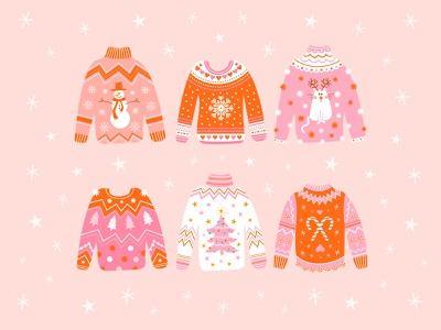 Ugly Christmas Sweaters cute style fashion happy holidays holidays sweaters ugly christmas sweater christmas visual design vector graphic design drawing art design digital design digital illustration illustration art illustrator illustraion