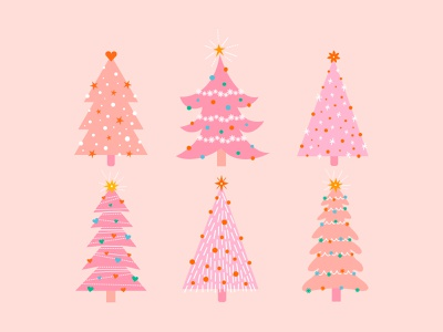 Pink Christmas Trees cute merry christmas holidays happy holidays pink christmas tree pink christmas tree christmas graphic drawing art illustration art vector graphic design design visual design illustrator illustraion