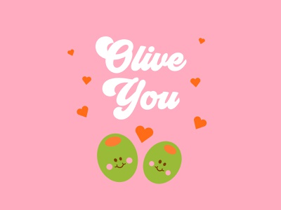 Olive You hearts funny love cute olives valentinesday valentine puns lettering typography vector graphic design design illustration visual design