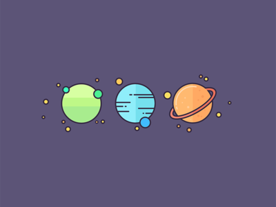 Planets stars space planets visual design symbols icons vector graphics graphic design illustration
