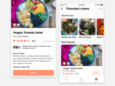 Eat Club redesign concept shopping ios reviews ordering food interaction ui design visual design