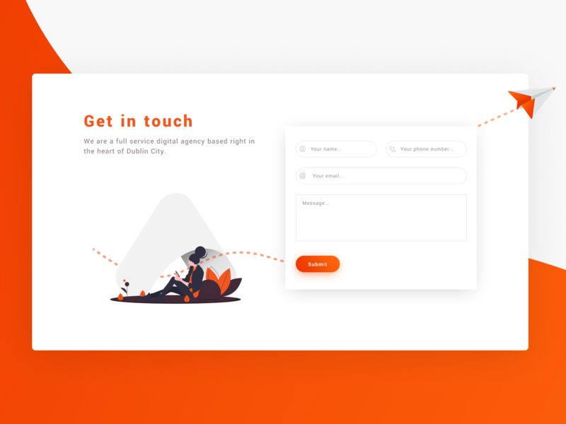 Get in Touch ux design branding email vector ui illustration contact page ui design digital agency ireland dublin contact form contact contact us get in touch