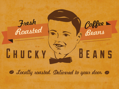 Chucky Beans Branding Logo first shot illustration logo coffee roasting vector headshot vintage retro illustration branding illustrator coffee bow tie caricature