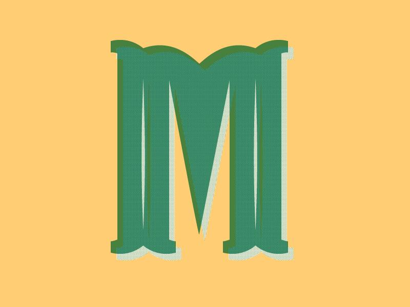 Typehue Letterpress M typography halftone letterpress green type letter m typehue