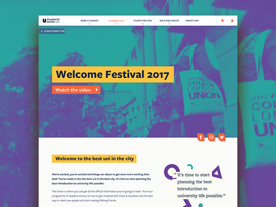 Students' Union UCL Website website webdesign web ui tiles students quote patterns duotone design colours agency
