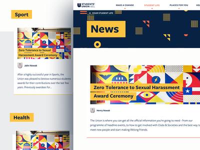 News on Students' Union UCL Website patterns pattern tiles web agency webdesign design ui colours heading news website