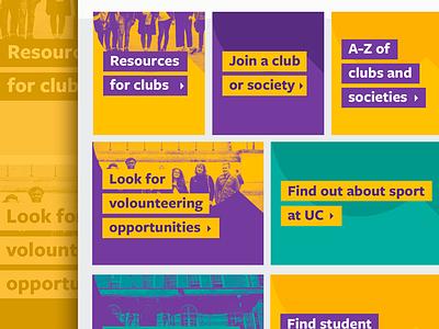 Students' Union UCL Website website students colours ui design webdesign agency web tiles pattern patterns