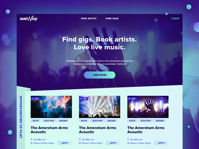 Bandwagon website homepage startup music gigs gradient design tiles tile purple website webdesign landing page