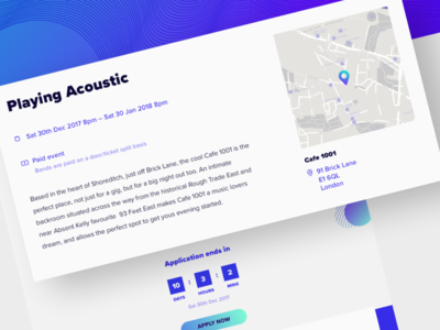 Gig Preview webdesign web team services product design icons flat music map cta contact agency