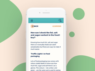 Article view – Dots from Action for Children typography dots responsive filters tiles design mobile ui