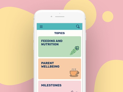 Dots – Parenting Platform from Action for Children icons dots responsive filters tiles design mobile ui