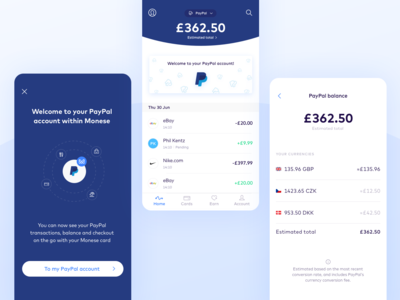 Monese + PayPal ux product design sketch illustration paypal fintech money ui