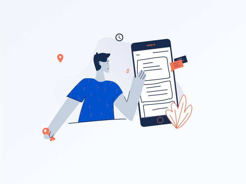 Mobile Illustration smartphone mobile flat shapes vector web ui sketch graphic design