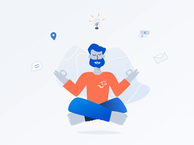 Meditation man shape motion animation web design interface vector graphic ui sketch