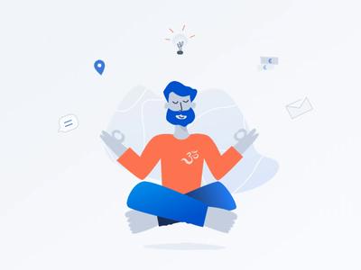 Meditation man shape motion animation web design interface vector graphic ui sketch