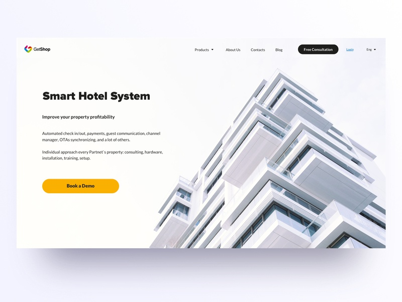 GetShop: Main Page minimalism hotels automation main screen main page ux  ui typography dashboard graphic interface design web sketch ui