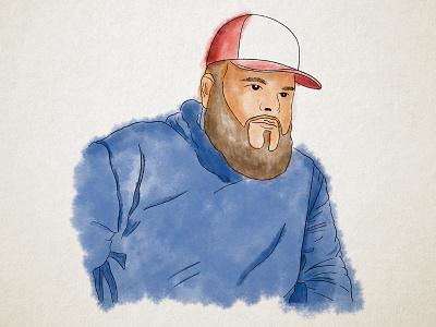 Joe Portrait bearded man man beard hoodie hat lifestyle character art procreate drawing illustration design graphic design