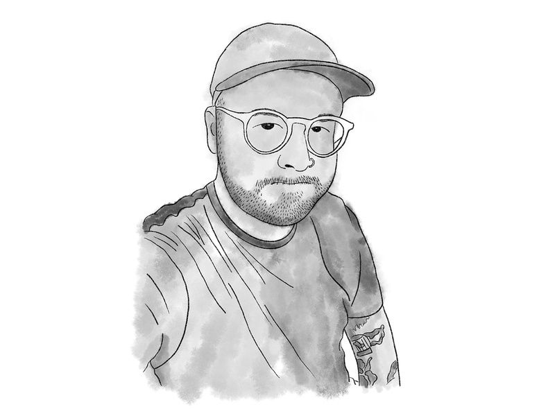Erik Portrait tattoos glasses hat man digital illustration digital painting digital art digital watercolor sketch drawing lifestyle procreate illustration design graphic design