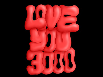 Love You 3000 typedesign colors color procreate lettering letter love you 3000 3000 love you love type typography drawing illustration design graphic design