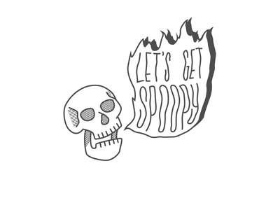 Lets Get Spoopy skull logo skull fire spooky halloween icon logo character art procreate drawing vector illustration design graphic design