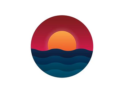 Sunset Animation after effects waves sun colors sunset motion graphic animation motion drawing vector illustration design graphic design