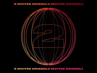 2 Dribbble Invites gradient dribbble invitation dribbble invite dribbble animation animated motion graphics motion type typography design graphic design