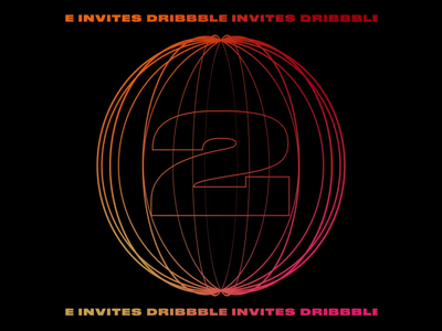 2 Dribbble Invites gradient dribbble invitation dribbble invite dribbble animation animated motion graphics motion type typography design graphic design