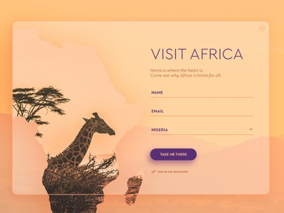 Visit Africa UI login design modal box shot signup africa vector webdesign digital ui design dailyui