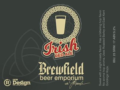 Irish Red Brewfield celtic brewfield irish red label beer homebrew