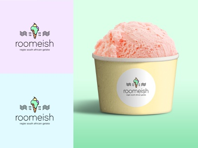 Roomeish logo south africa vector design colourful branding brand identity pastels logotype ice cream branding ice cream shop ice cream logo icecream logo design logodesign logos logo