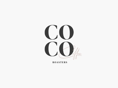 Coco Coffee Roasters roaster beans cup drink cafe letters neutrals typography clean flat illustration icon vector wordmark logo shop serif co roasting coffee